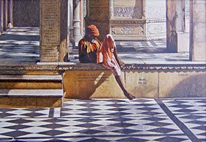 Man Sleeping in the Temple by John Thompson, acrylic on wood panel.