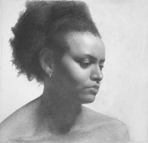 Taquia by Gregory Mortenson, graphite portrait drawing on paper, 11 x 14, 2007.