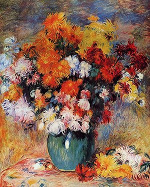 Vase of Chrysanthemums by Pierre-Auguste Renoir, 1890.
