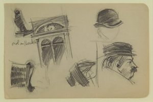 Study of Men's Hats and a Window by Edward Hopper, ca. 1910-20, pencil on paper, 4 x 6-1/4 in. Collection of Mr. and Mrs. Bruce C. Loch.