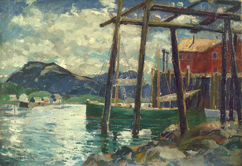 Old Wharves, Camden, Maine by Jonas Lie, ca. 1925-40, oil painting.