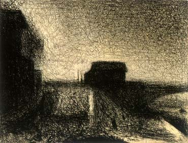 Approach to the Bridge at Courbevoie by Georges Seurat, 1886, conté crayon drawing, 9 1/8 x 11 3/4.