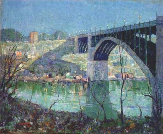 Spring Night, Harlem River by Ernest Lawson, oil painting, 1913.