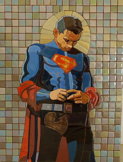 Wonder Man by Peter Buchman, painted wood mosaic, resin, 20 x 16.
