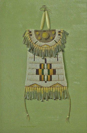 Plains Indian Strike-a-Light Purse by Turid Pedersen, oil on linen, 12 x 8.