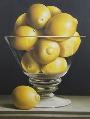 Oil painting by James Tormey: Lemons, oil on canvas.