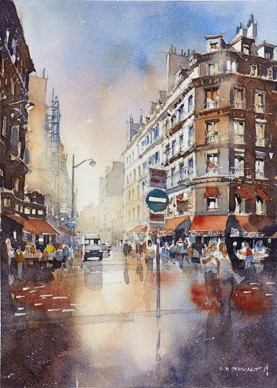 Cityscape by Iain Stewart, watercolor painting.