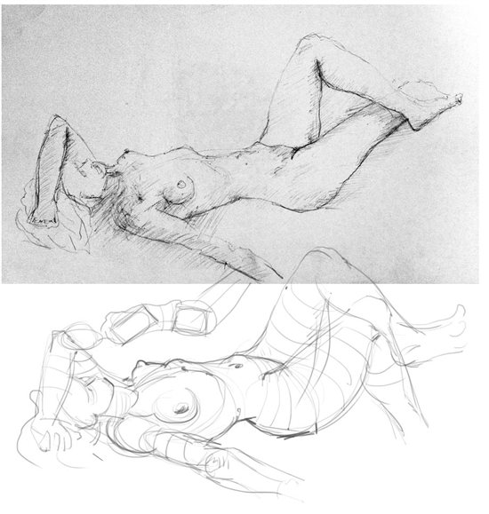 A figure drawing with the rib cage in need of correction, and the adjustments that need to be made.