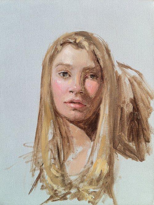Eva Mullarky by Kristin Künc, oil on linen, 9 x 13, 2011.