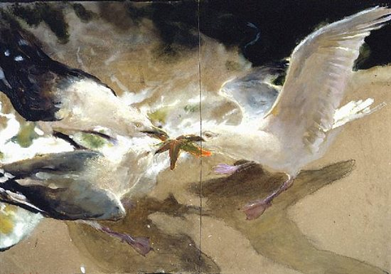 Sea Battle by Jamie Wyeth, 2003, mixed media watercolor painting, 29 1/2 x 43 1/2.