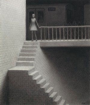 Tunnel by Aron Wiesenfeld, 2008, charcoal, 16½ x 14.