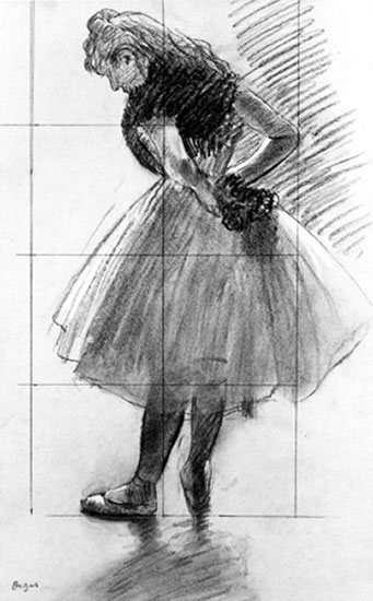 Dancer Tying Her Scarf by Edgar Degas, drawing.