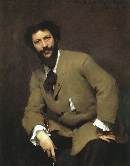 A portrait of Carolus-Duran by Sargent, showcasing the black-yellow ochre potentials for greens in the sitter's jacket.