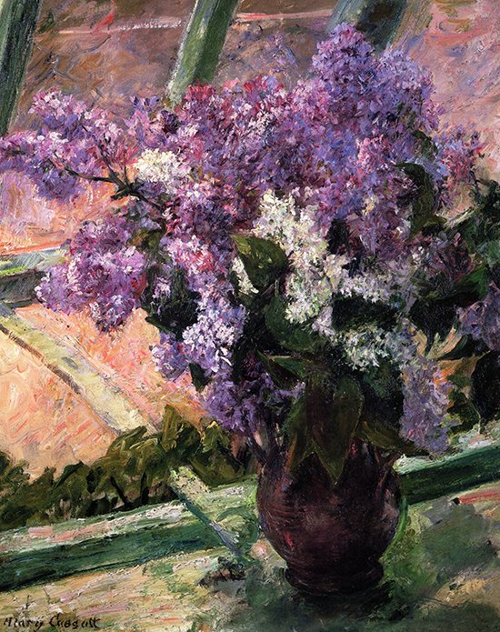 Lilacs in a Window by Mary Cassatt, 1880-1883, oil on canvas.