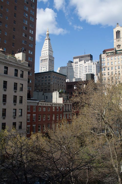 A view of Gramercy Park, in New York City, viewed from the National Arts Club.