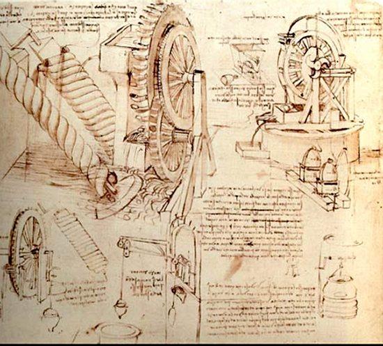 Leonardo da Vinci drawing for a water-lifting machine.