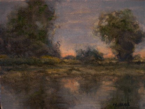 Backwater Twilight by Mark Beale, oil painting, 9 x 12.