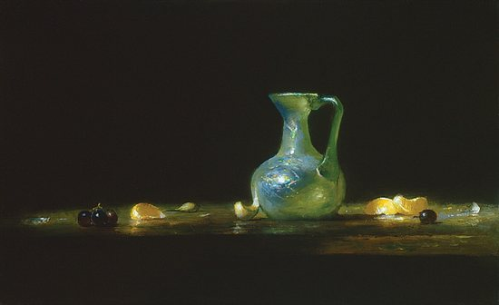 Roman Glass with Oranges, Garlic & Grapes, oil on canvas. Oil painting by David Leffel.