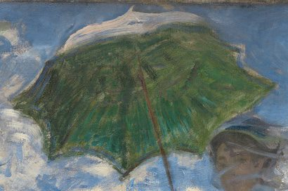 Woman with a Parasol - Madame Monet and Her Son by Claude Monet, 1875, oil on canvas. Detail, umbrella.