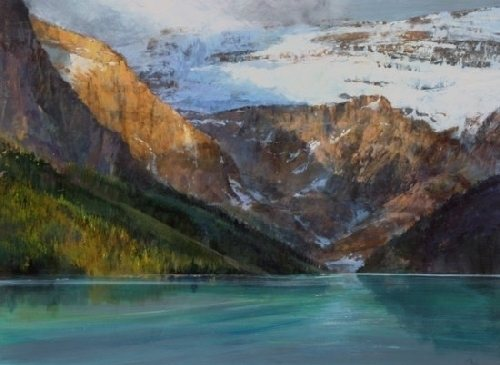 Glacier Over Lake Louise by Gil Dellinger, acrylic painting, 36 x 48.