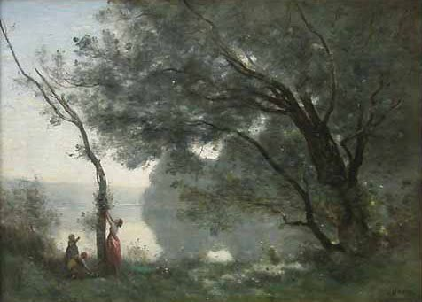 Recollection of Mortefontaine by Jean-Baptiste-Camille Corot, landscape oil painting, 1864.