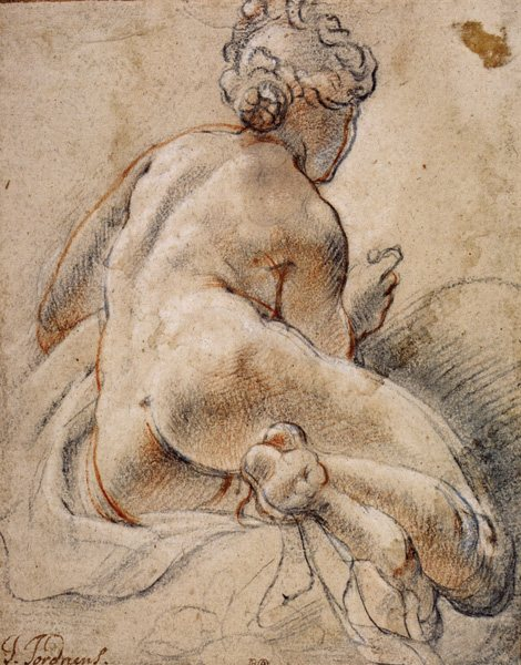 Female Nude, Seen From the Back by Jacob Jordaens, ca. 1640, chalk drawing, 10 x 8. Collection National Gallery of Scotland.