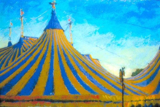 Cirque Tents by Terri Ford, pastel painting.