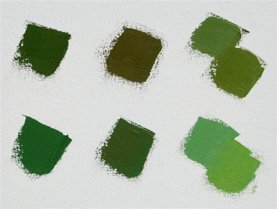 All the pigments in my plein air painting palette are neutral and always mix a range of natural-looking greens.