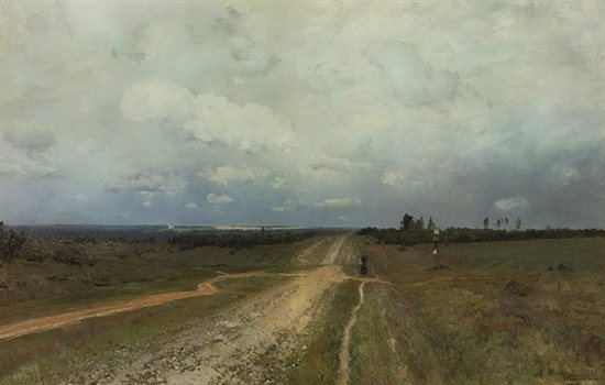 The Vladimirka Road, by Issac Levitan, 1892, oil painting, 31 x 48.