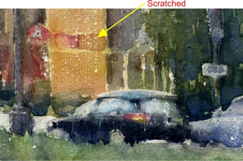 Scratching the surface of a watercolor painting gives a sense of rainfall on the surface of the painting.