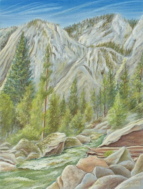 Colored pencil landscape by Kristy Kutch.