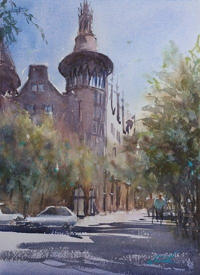 Barcelona, Spain VII by Keiko Tanabe, watercolor painting, 11 1/2 x 8 1/4.
