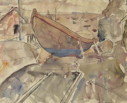 Edwin Dickinson's watercolor painting, Boatyard, Provincetown (1921, 15 1/4 x 19), with its delicate washes and subtle color, shows how well suited watercolor medium is to the maritime subject matter of Cape Cod.