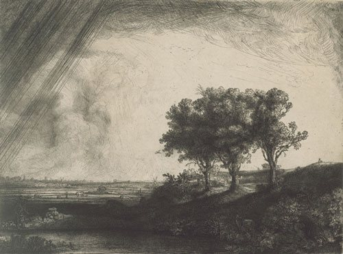 The Three Trees by Rembrandt, 1643, etching with burin drypoint in black ink on cream laid paper, 8 x 11.