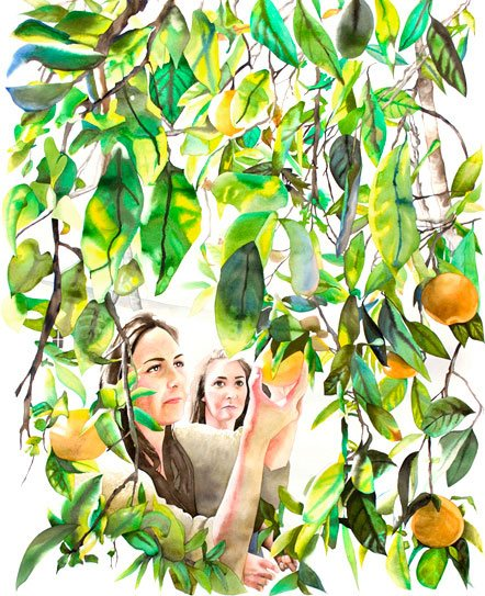 "Picking Oranges in Grandpa's Yard, watercolor, 59"" x 48"", 2008."