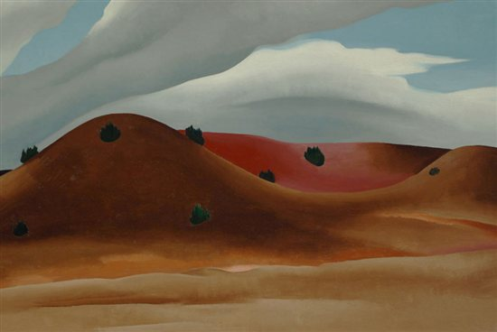Grey Hills Painted Red by Georgia O'Keeffe, oil painting, 1930.