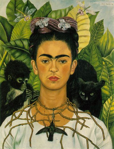 Self-portrait by Frida Kahlo, oil painting.