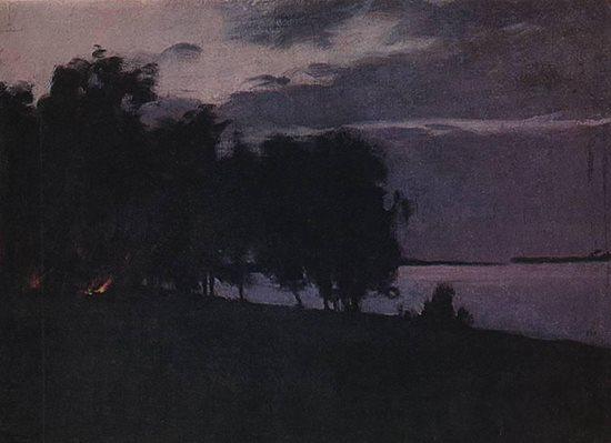 Bonfire by Isaac Levitan, ca 1895.