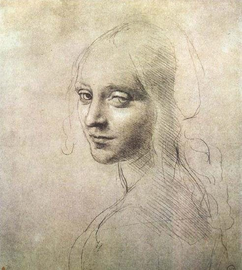 Drawing by Leonardo Da Vinci--Head of an Angel