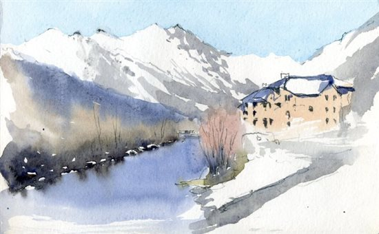 Winter watercolor plein air painting