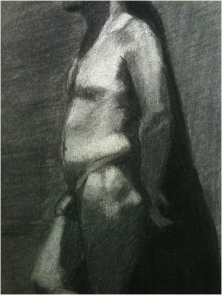 Figure drawing by Judith St. Ledger-Roty, charcoal drawing, 2011.
