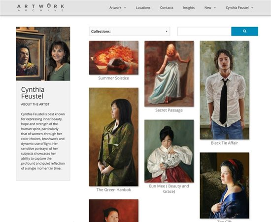 A user page from Artwork Archive showing all the artist's works.