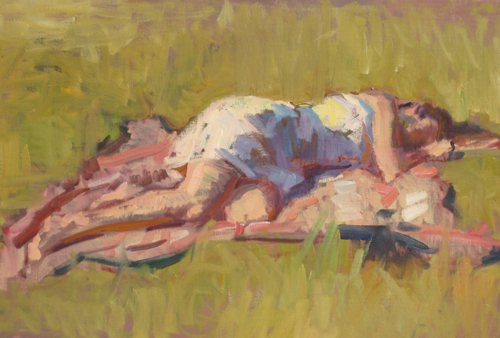 Girl in Sun by Ben Fenske, oil on linen, 24 x 35, 2010.