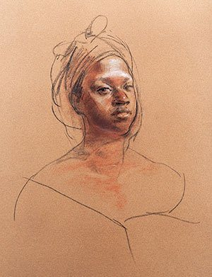 Drawing of Taheera by Sherrie McGraw, 2009, charcoal drawing, 24 x 18.