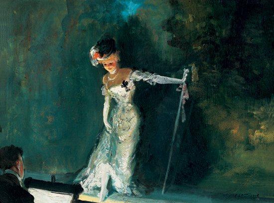 Revue by Everett Shinn, 1908, oil painting, 18 x 24.