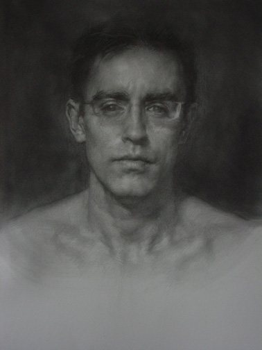 Self-Portrait After Palmer by Dan Thompson, mixed media, 19 x 25, 2003.