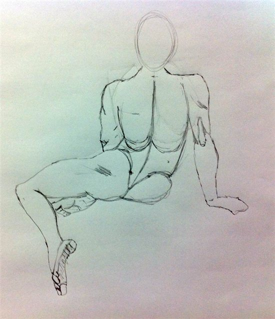 Drawing 1, figure drawing of incorrect placement of the arms.