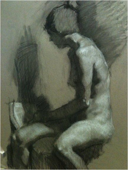 Lea Colie Wight drawing of a seated female.