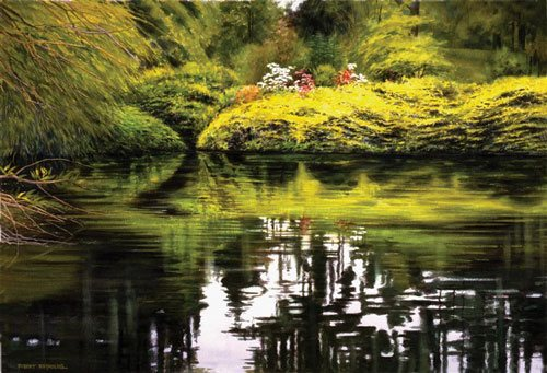 Garden Pond by Robert Reynolds, 29 x 19, transparent watercolor painting on rag paper.
