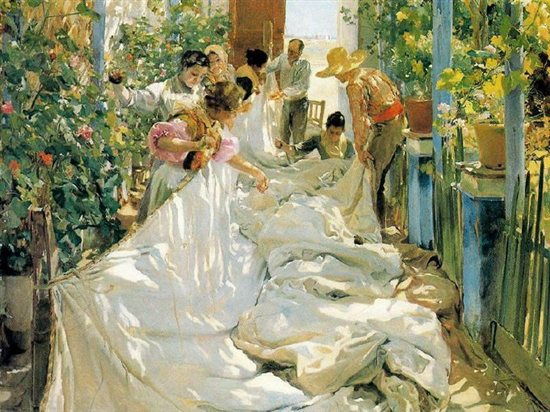 Sewing the Sail by Joaquin Sorolla, oil painting, 1896.